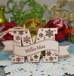 PERSONALISED CHRISTMAS TREE DECORATION BAUBLE LETTER NAME ...
