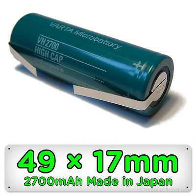 Toothbrush Replacement Battery 2700mAh 49mm x 17mm 1.2V Ni-MH for Braun Oral-B