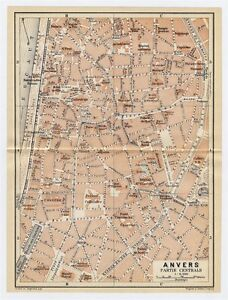 1910 ANTIQUE CITY MAP OF ANTWERP ANVERS ANTWERPEN CITY CENTER