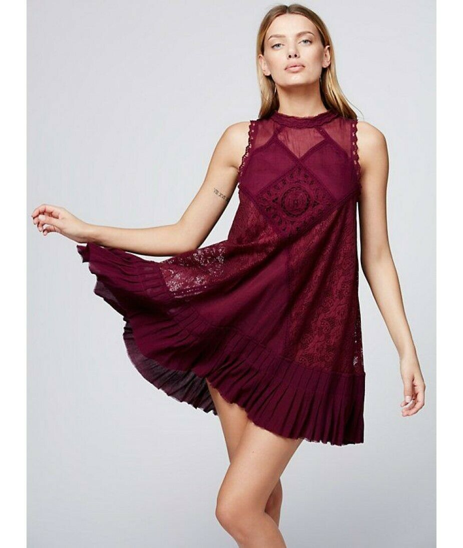 NWOT Free People FP One Angel Lace Ruffle Trapeze Swing Dress Burgundy Red S