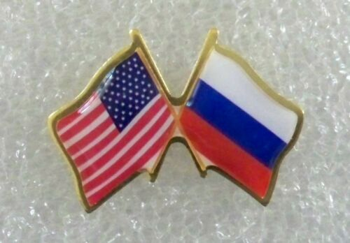 US and Russia crossed flags lapel pin made in USA