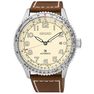 Seiko-Prospex-SRPB59-J1-Cream-Dial-Brown-Strap-Men-039-s-Automatic-Pilots-Watch