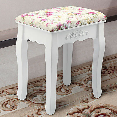 Rose Vintage Dressing Table Stool Padded Piano Chair Rest Makeup Seat Baroque UK