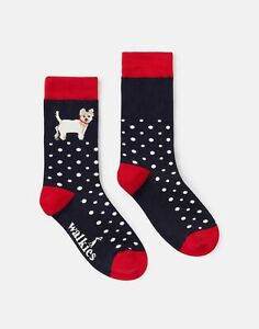 Joules Womens 215734 Single Pk Socks - Navy Dog Spot - Adult 4-8