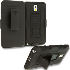 For Samsung Galaxy Note 3 Hybrid Armor Shell Holster Hard Case Cover Black