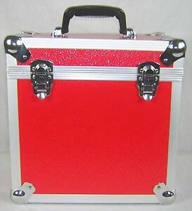 1-X-NEO-Aluminum-Red-Storage-for-50-Vinyl-LP-Records-12-034-DJ-carry-Case