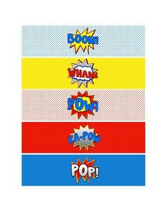 picture relating to Printable Decorations titled Facts above Superhero Increase POW WHAM Printable Bottle Labels ~ Bash Decorations