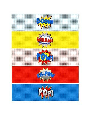 photo regarding Printable Party Decorations named Superhero Growth POW WHAM Printable Bottle Labels ~ Bash Decorations eBay