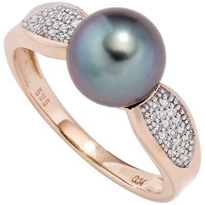 Pearl Efficient Jobo Damen Ring 54mm 585 Rotgold 1 Tahiti Perle 34 Diamanten Brillanten Perlenri Hot Sale 50-70% OFF