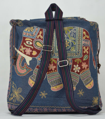 New Hippie Gypsy Blue Elephant Design Backpack Tapestry School Canvas Uni Bags