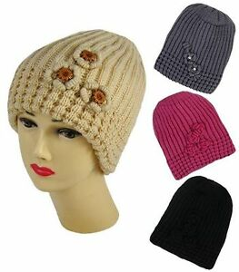 New-Ladies-Girls-Chunky-Cable-Knitted-Ribbed-Beanie-Soft-Warm-Hats-with-Crochet
