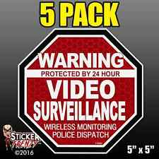 "5 Pack Warning 24 hour Video Surveillance Stickers  ""OCT"" RED Alarm Decal FS060"