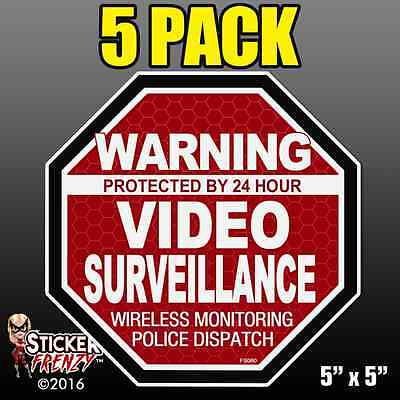 "5 Pack Warning 24 hour Video Surveillance Stickers  /""OCT/"" RED Alarm Decal FS060"