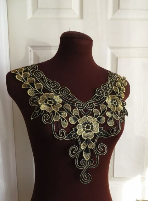 Large bright gold and black guipure lace embroidered neck trim applique, 1 piece