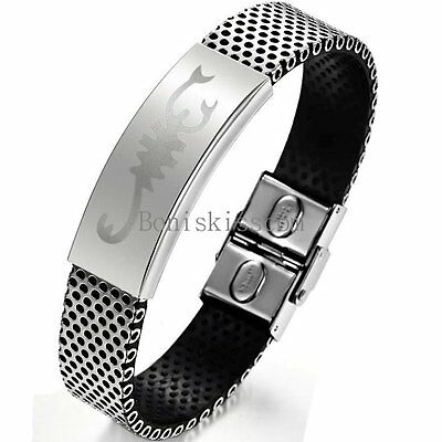 Stainless Steel Black Silver Bracelet Charm Scorpion Scorpio Cuff Bangle For Men