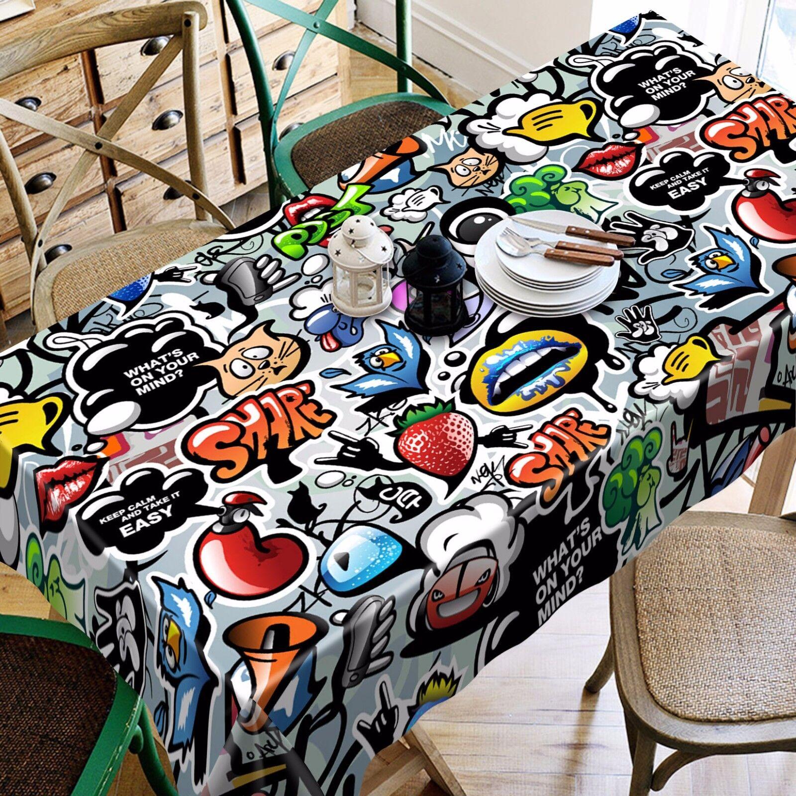 3D Graffiti 5 Tablecloth Table Table Table Cover Cloth Birthday Party AJ WALLPAPER UK Lemon 01bf11