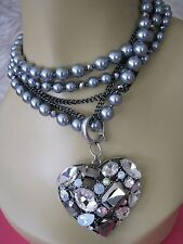 BETSEY JOHNSON TORSADE ENHANCERS CRYSTAL HEART FAUX PEARL STATEMENT NECKLACE~NWT