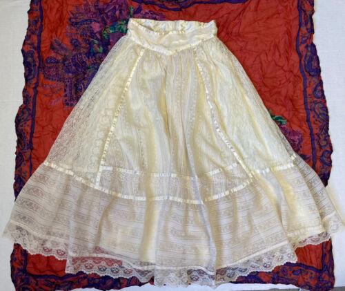 Vintage Gunnie Sax Lace Skirt Prairie XS 5 Off Whi