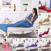 New Adult Kids Mermaid Tail Sofa Blanket Super Warm Hand Crocheted Knitting Rug