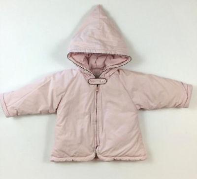 JACADI Girl/'s Sage Pale Pink Hooded Bebe Winter Coat Size 6 Months NWT $62