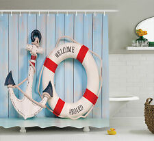 Anchor and Stripe Lifebuoy Polyester Fabric Bathroom Shower Curtain Set