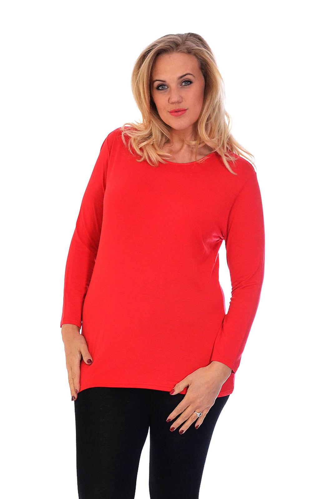 09afb2ea76cb2f Women Simple Plain Full Sleeve T-shirt Top Nouvelle Ladies Plus Size ...