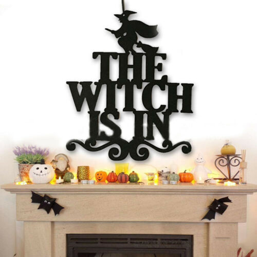 DIY decoration Door Sign Halloween Party Decor Hanging Props Spooky Witch Bat