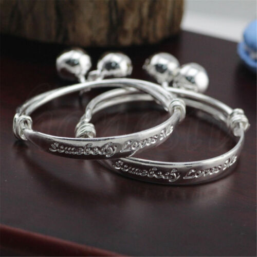 925 Sterling Silver Solid Adjustable Childs Babys Christening ID Identity Bangle Bracelet