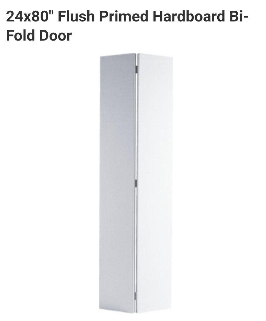 24 x 80  Flush Primed Hardboard Bi-Fold Door NEW  Fast SHIPPING