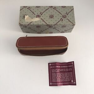Vintage Sovereign Men's Leather Zippered Case With Comb & Attached Clothes Brush