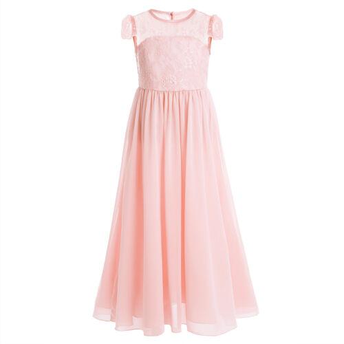 Kids Princess Cap Sleeve Dress Flower Girl Wedding Bridesmaid Gown Maxi Dresses