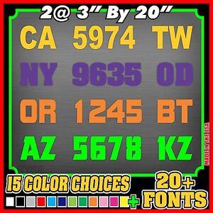 Boat-Registration-Number-Lettering-Decals-Sticker-Vinyl-Vessel-PWC-2-Sets-3-034-x20-034