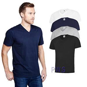 Uneek-Mens-Classic-V-Neck-T-Shirt-100-Cotton-Tee-180-GSM-UC317