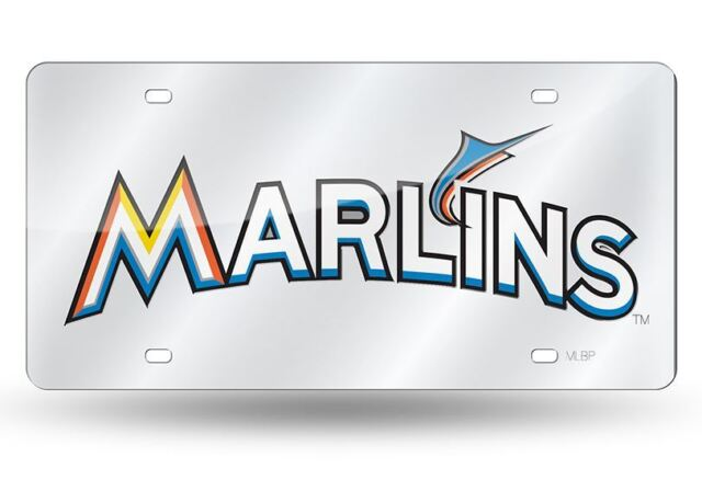 Rico Industries Miami Marlins New Logo Design Premium Black Laser Cut Tag Acrylic Inlaid Mirrored License Plate Baseball Inc