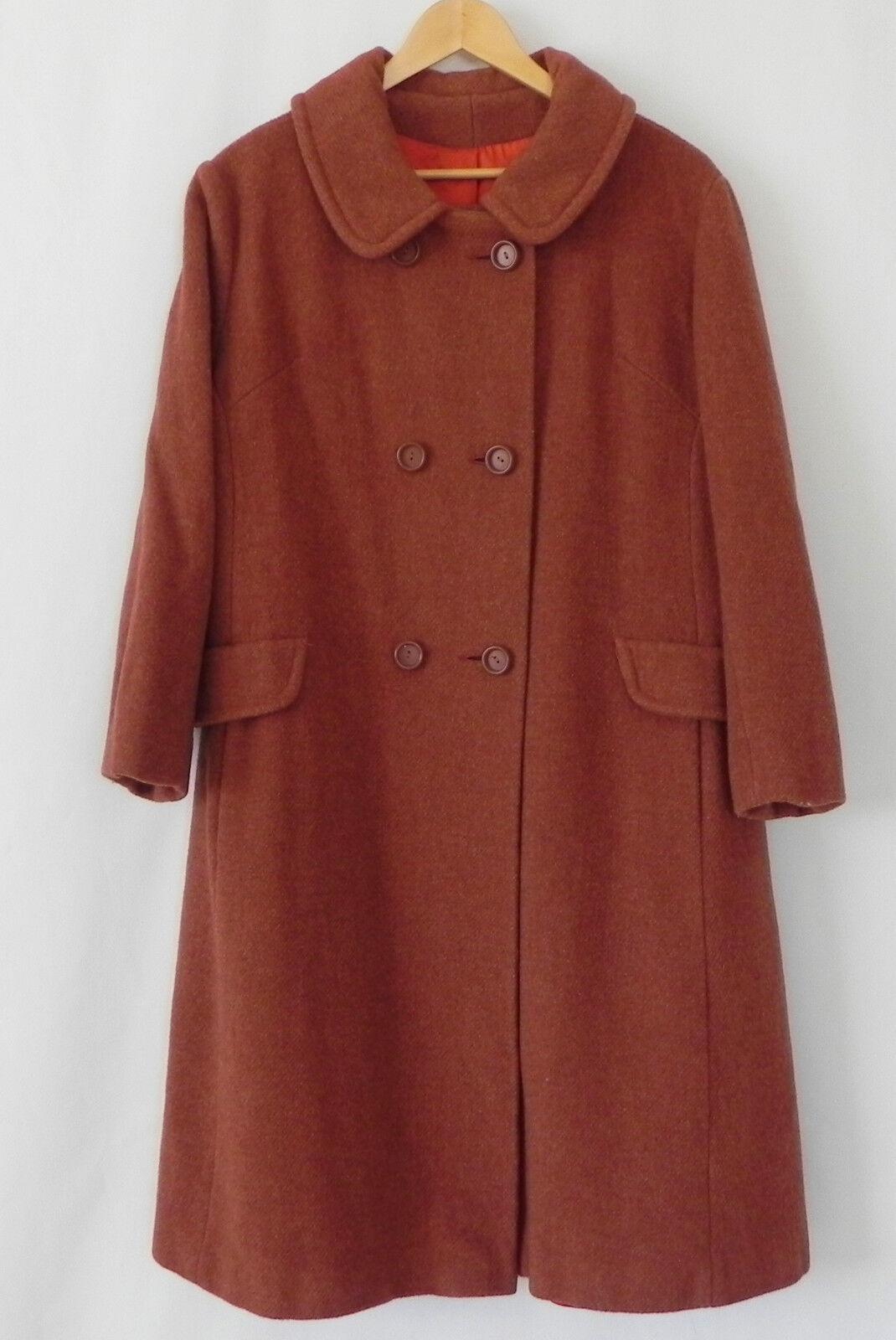 Vintage laine hommeteau Terre Cuite Boutonnage Double Taille XL