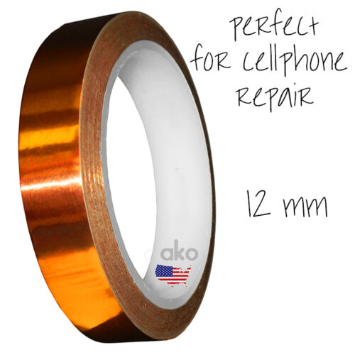 HEAT RESISTANT TAPE Adhesive for Samsung Note Apple iPad Tablet Tab 12mmx100 Ft