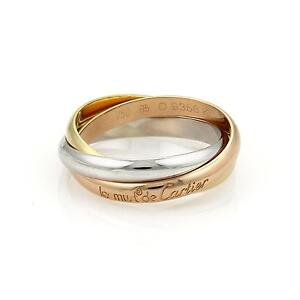 74b6dfbae9b1 Cartier Trinity 18k Tri-Color Gold 3.5mm Rolling Band Ring Size EU ...