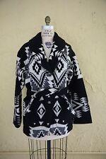 Vtg Pendleton Wool Blanket Coat Jacket Aztec Native American Southwestern