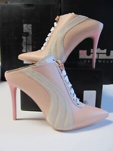 Details about Women Puma FENTY RIHANNA Lace Up Mule Heel $400 ITALY Pink  LEATHER 7.5 364468 01