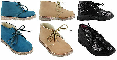 BOYS GIRLS FAUX SUEDE BOOTS HI TOP LACE UP 6-12 DESERT BOOTS BNIB