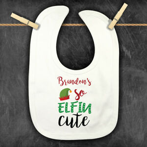 Personalised Christmas Baby Bib,Xmas Bandana Bib Elfin Cute Dribble Feeding