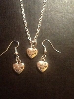 Jewelry Sets Fashion Jewelry Thank You Necklace And Hook Earring Set Silver In Colour