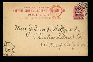Postal History British Guiana H&G #6a Postal Card 1894 Georgetown to Antwerp