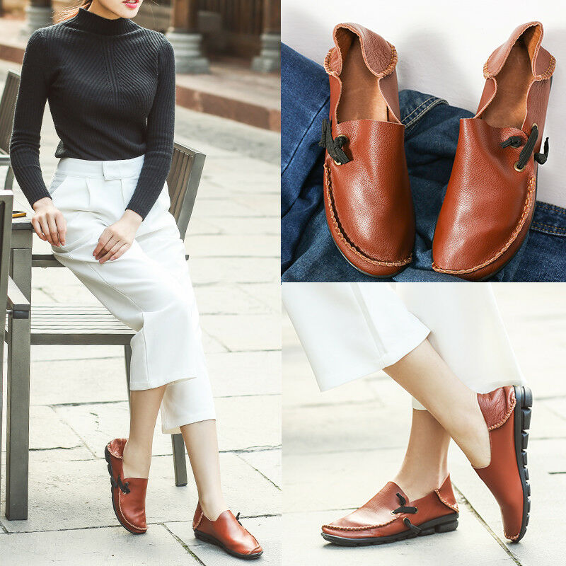 Women Flat Causal Round Toe Loafers Slip On Comfort shoes Solid Loafers