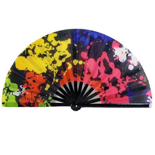 Large Folding Hand Bamboo Fans For Women Nylon Cloth Dance Fan Ornaments Gift