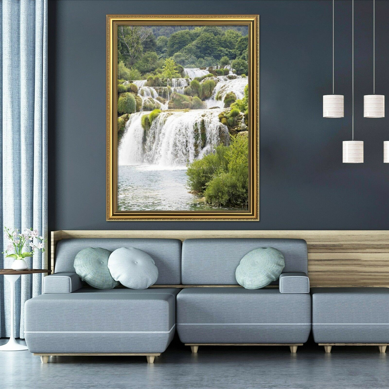 3D River Waterfall 51 Framed Poster Home Decor Print Painting Art AJ UK