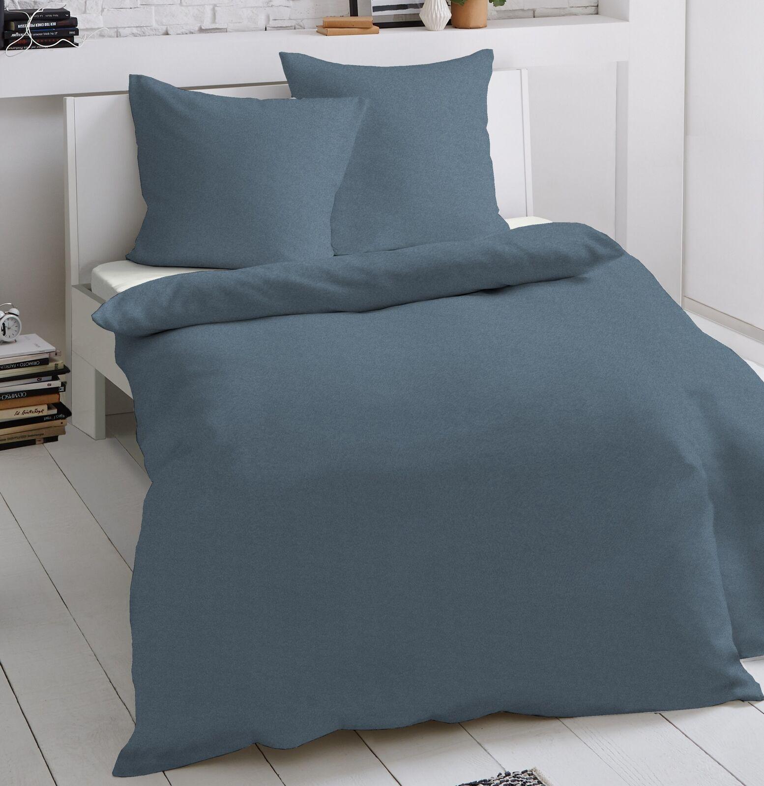 2 tlg Jersey Bettwäsche 155 x 220 cm jeans Mako Baumwolle Garnitur