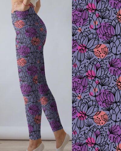 Purple Floral Flower Springtime Women/'s Leggings Plus Size TC 12-20
