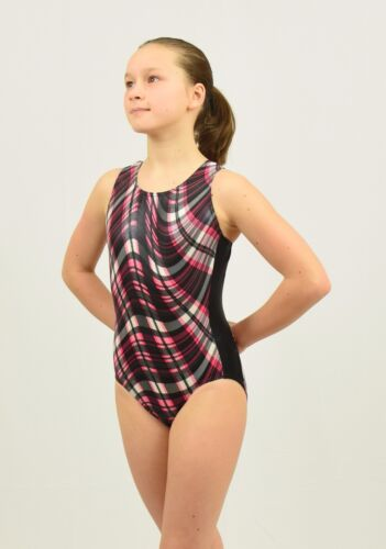 9-10 years Gymnastics Tank Leotard size MED child black//red//white plaid foil