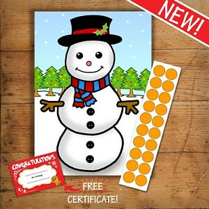 PIN THE NOSE ON THE SNOWMAN - Christmas Kids Party Game - 20 player